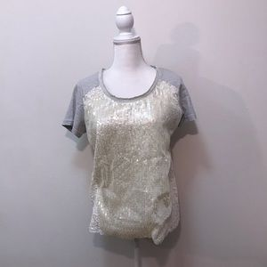 Miss Me Short Sleeve Sequin Lace White Gray Top M